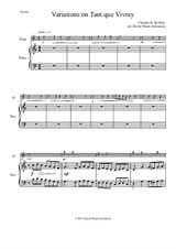 Variations on Tant que vivray for flute and piano