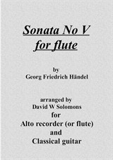 Sonata No.5 in F arranged for flute or recorder and guitar (all 4 movements)